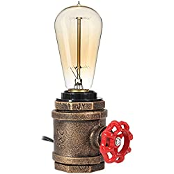 Elfeland Vintage Table Lamp Industrial Wrought Iron Desk Lamp Steampunk Antique Accent Lamp with E26/E27 Edison Base Retro Lamp Holder Table Light Fixture Loft Decoration for Living Room Bedside