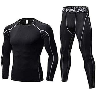 Minghe Men's 2pcs Long Underwear Set Cool Dry Compression Set Base Layer Top Bottoms Black S