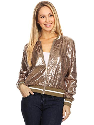Anna-Kaci Womens Long Sleeve Front Zip Track Stripe Sequin Bomber Jacket, Gold, -