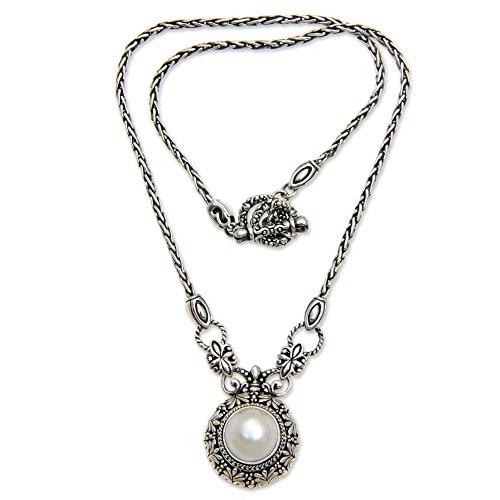 NOVICA Silver White Cultured Mabe Pearl .925 Sterling Silver Necklace 'Hapsari'