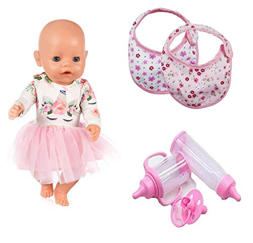 DENA Toys Baby Doll Accessories Feeding Play Set -Unicorn Dress, Bibs, Pacifier,Bottle, Cup - 8 Piece,Pink
