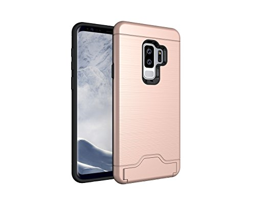 Price comparison product image Galaxy S9 Plus Case,DAMONDY Card Slot Holder Dual Layer Shock Absorption Protective with Card Holder and Kickstand Wallet Case Heavy Duty Bumper for Samsung Galaxy S9 Plus 2018-rose gold