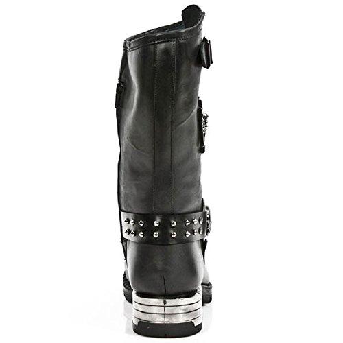 NewRock New Rock M.MR030-S1 Strap Schädel Metallisch Schwarz Motorradfahrer Gote Leder Stiefel