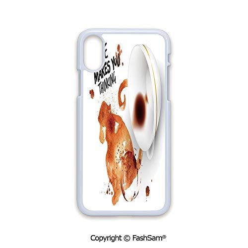 Phone Case Compatible with iPhone X Black Edge Thinking Monkey Animal with Fun Lettering and Inverted Coffee Cup Decorative 2D Print Hard Plastic Phone Case