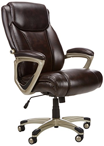 Amazonbasics Big Tall Executive Computer Desk Chair Adjustable With Armrest 350 Pound Capacity Brown With Pewter Finish Bifma Certified