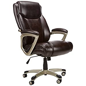 AmazonBasics Big & Tall Executive Computer Desk Chair, Brown with Pewter Finish