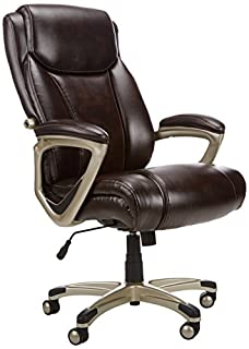 AmazonBasics Big & Tall Executive Computer Desk Chair - Adjustable with Armrest, 350-Pound Capacity - Brown with Pewter Finish (B01DN7NFRG) | Amazon Products