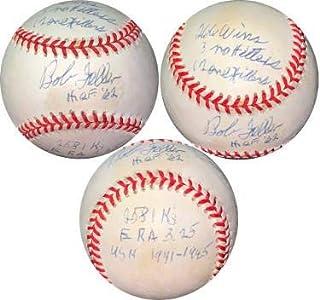 Bob Feller signed ROAL Rawlings OFC American League Baseball 7 stat- HOF/Wins/No Hit/K's/1 Hit/ERA/USN- #EE41779 (Indians) - JSA Certified