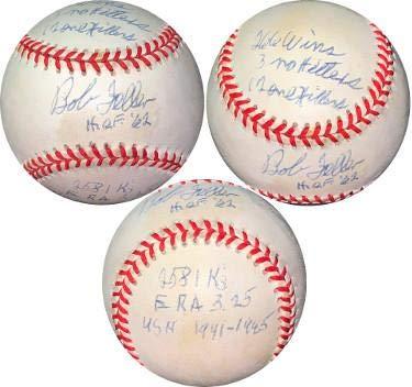Bob Feller signed ROAL Rawlings OFC American League Baseball 7 stat- HOF/Wins/No Hit/K's/1 Hit/ERA/USN- #EE41779 (Indians) - JSA Certified Bob Feller Signed Baseball