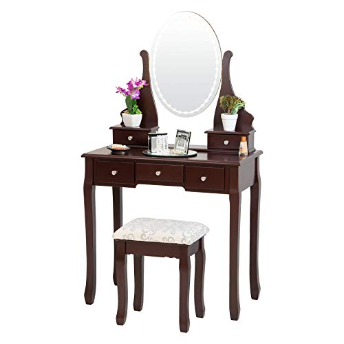 Fineboard FB-VT22-BN LED Lights Dressing Table with Stool Mirror and 5 Drawers, Brown