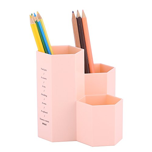 YOSCO Polystyrene Desk Pen Pencil Holder Stand Multi Purpose Use Pencil Pot Supplies Organizer Caddy Makeup Brushes Holder (Pink)