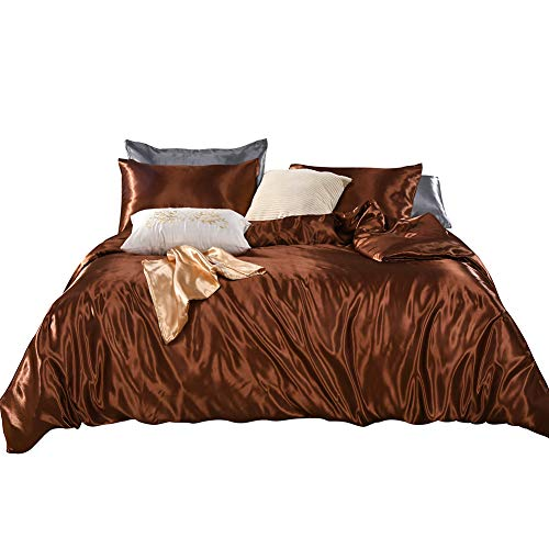 3 Pieces Brown Bedding Silk Like Satin Duvet Cover Set Luxury Chocolate Brown Silky Bedding Sets Queen (90