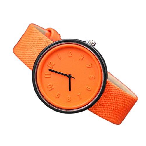 Dress Indiglo Watch (Perman Men Women Quartz Dial Clock Analog Wrist Watch (Orange))