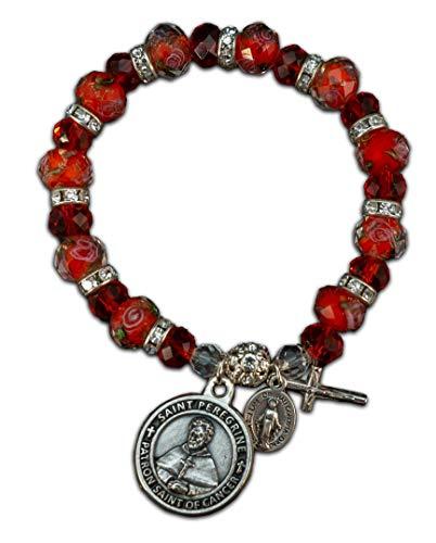 Red Rose Italian Charm Bracelet - The Christian Mint, LLC St Peregrine Patron Saint of Cancer Stretch Bracelet w/Capsule of St Peregrine Soil (Red Rose)