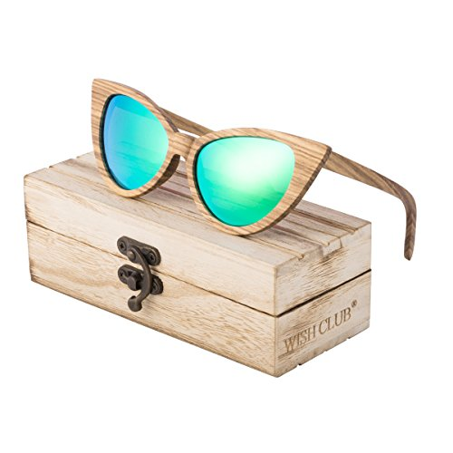 WISH CLUB Cat Eye Bamboo Polarized Sunglasses Wood for Women Girls Handmade Mirrored Lenses Vintage Wooden UV400 Eyewear Fashion Light Cute Sun Glasses with Box - With Glasses Round Cat
