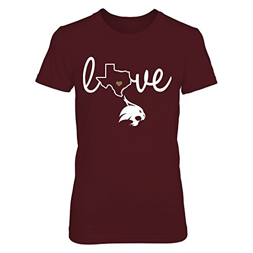 FanPrint Texas State Bobcats T-Shirt - State Love - Women's Tee/Maroon/M (Texas State University Tshirt)