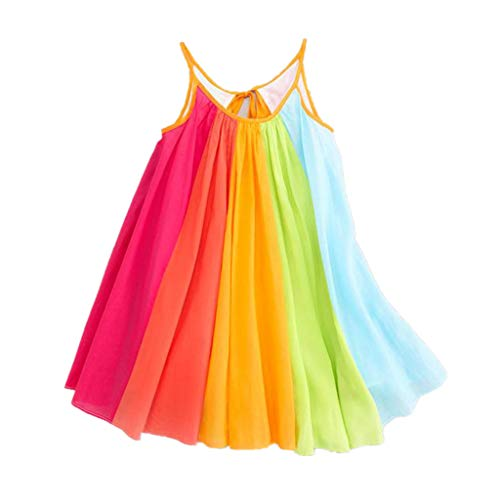 (Aunimeifly Toddler Adorable Little Girl Comfort Chiffon Rainbow Patchwork Sleeveless Strap Tutu Princess Dress (5/6T, Multicolor))