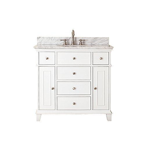 Avanity Windsor 36 in. Vanity with Carrera White Marble top and Undermount Sink in White finish (Carrera Marble Vanity Top With Sink)