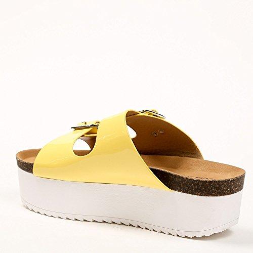 Ideal Shoes–Barfuß mit Sohle aus Radierer Anahi Gelb - gelb