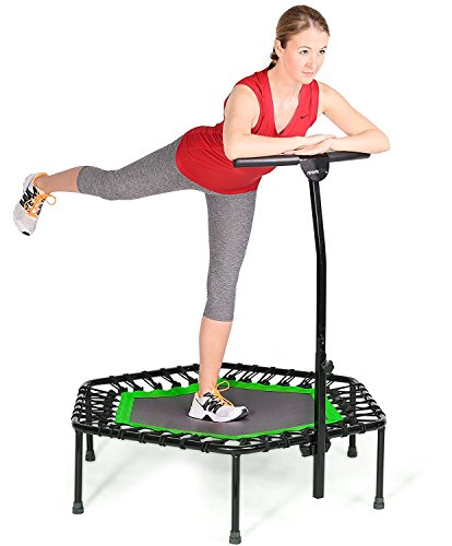 Fashine Fitness Trampoline Bungee-Rope-System with Adjustable Handlebar, Portable Foldable Durable Safe Trampoline(US STOCK) (Green)