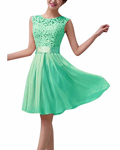 ZANZEA Women's Sexy Sleeveless Lace Cocktail Party Prom Slim A Line Short Dress Mint US 6