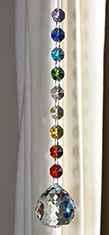 Crystal Sphere Sun-catcher Hanging Ornament, Chakra Rainbow Decoration, Window Suncatcher (Crystal Suncatcher Chakra)