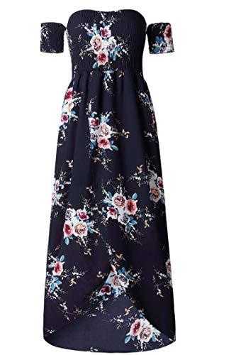 Boho Style Long Dress Women Off Shoulder Beach Summer Dresses Floral Print Vintage Chiffon White Maxi Dress Vestidos,Navy,XXXL ()