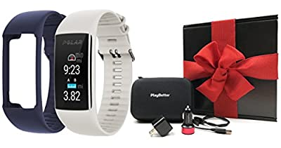 Polar A370 Fitness Band (White, Medium/Large) GIFT BOX Bundle | Includes Extra Band (Blue), PlayBetter USB Car/Wall Adapter, Protective Case | GPS Activity Tracker, Wrist-HR | Black Gift Box