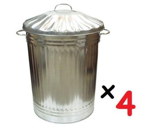 4 x groß e 90L Liter Mü lleimer aus Metall, Verzinkter Stahl, Ideal fü r Tiernahrung/Aufbewahrung/Abfalleimer/Mü lleimer S&MC Gardenware