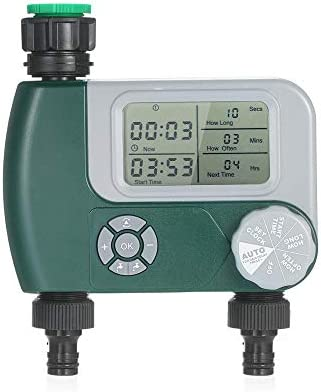SADSA Timer Automatische Bewässerung Sprinkleranlage Bewässerungssteuerung Programmierbarer digitaler Schlauchhahn Timer Batterie mit 2 Ausgängen betrieben
