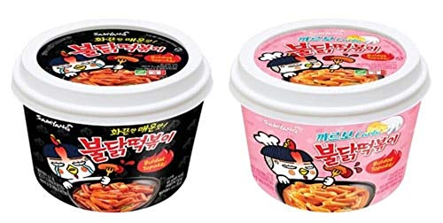 Spicy Chicken Hot Buldak stir-fried Rice Cake 붉닭 떡볶이, Microwaveable (4 Packs, 2 x Carbo & 2 x ()