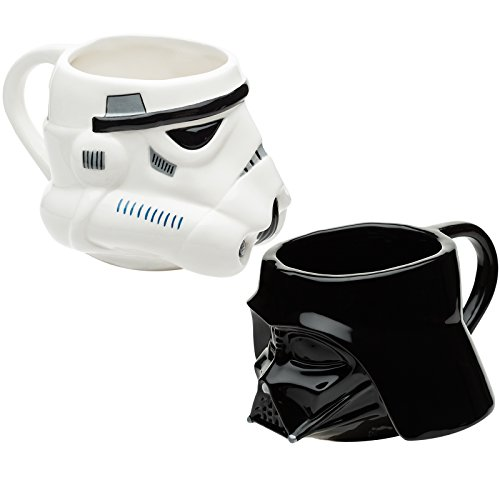 Zak Designs SWRD-7085 Star Wars Sculpted Ceramic Coffee Cup, Darth Vader & Stormtrooper, 2-piece set