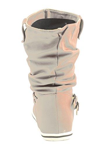 Elara - Botas plisadas Mujer Beige - beige