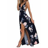 BerryGo Women's Sexy Deep V Neck Backless Floral Print Split Maxi Party Dress