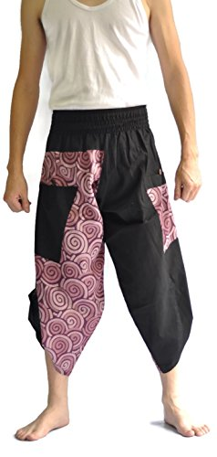 Siam Trendy Mens Harem Pants Design Japanese Style Pants One Size Black and Circle Design (Purple) by Siam Trendy (Image #1)