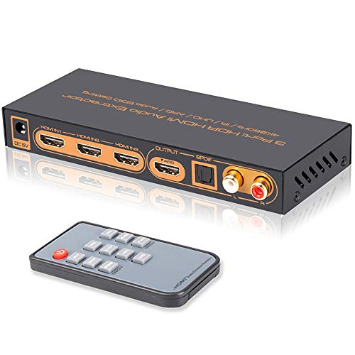 iArkPower 3 Port 4K@60Hz HDMI Switch with Optical SPDIF & RCA L/R Audio Out, 3 in 1 Out HDMI Audio Extractor Splitter with Remote, Supports 4Kx2K, 18Gbps, UHD, HDR, ARC (Home Stereo Receiver Phillips)