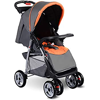 Costzon Baby Stroller, Foldable Infant Pushchair with 5-Point Safety Harness, Multi-Position Reclining Seat, Parent and Child Tray, Large Storage Basket, ...