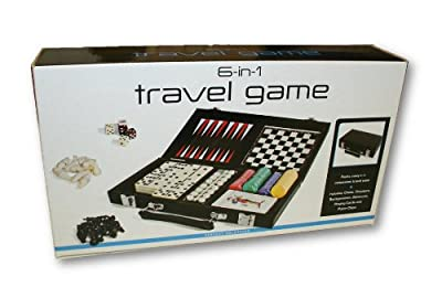 6-In-1 Travel Games ~ Chess, Checkers, Backgammon, Dominoes, Playing Cards and Poker Chips