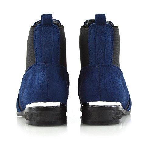 Essex Glam Kvinners Chelsea Boots Elastisk Kile Flat Tilfeldige Ankelsokker  Navy Faux Suede ...