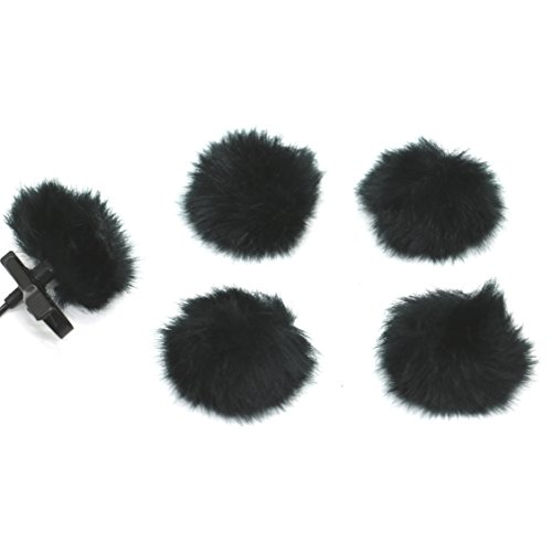 Pack Of 5 Furry Outdoor Microphone Windscreen Muff for Most Lavalier Microphones ,Black