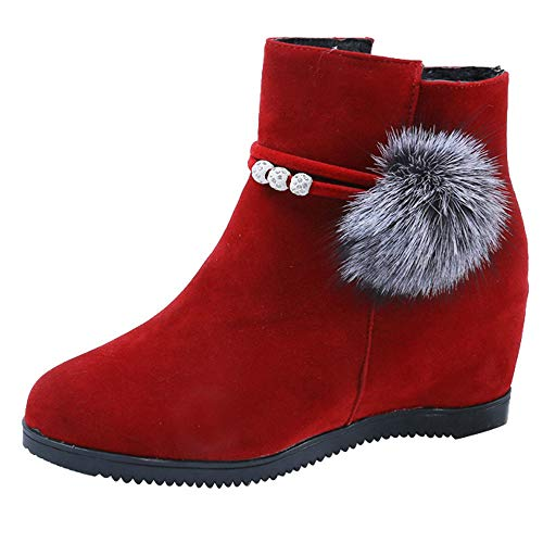 Londony ♥‿♥ Clearance 2018,Women's Side Zipper Suede Hairball Slip On Wedge Mid Rain Boot Ankle Boots Martin ()