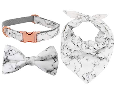 (Free Sunday Marble Dog Bow Tie Collar and Bandana with Rose Gold Metal Buckle(Marble M))