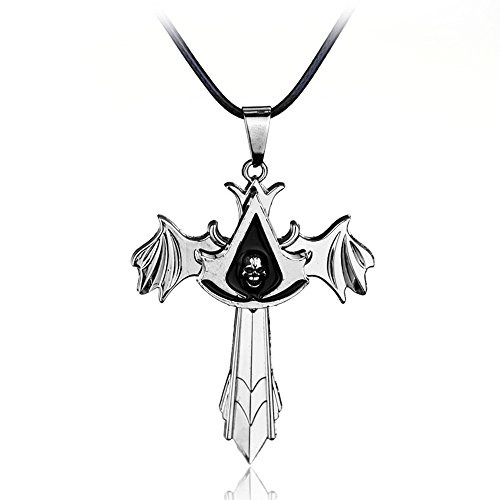 Assassins Creed Costume Altair (VOSTE Assassin Desmond Miles Pullover Hoodie Ezio Brotherhood PU Splicing Sweatshirts For Men (Pendant, Silver))