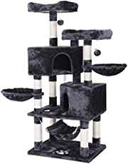 BEWISHOME Multi-Level Cat Tree Condo with Sisal Scratching Posts, Perches, Houses, Hammock and Baskets, Cat Tower Furniture Kitty Activity Center Kitten Play House Grey MMJ05B