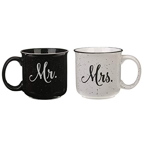 Mugs Travel Monogram - CEDAR HOME Travel Coffee Ceramic Mug Funny Tea Cup Enamel Paint Finish Porcelain 14oz., 2 Pack