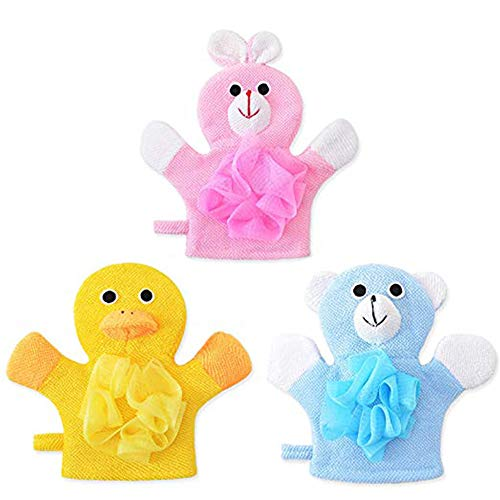 Bath and Shower Loofah Sponge For Kids,Non-toxic,Skin-friendly Soft Terry Cloth Bath Puppet,Wash Cloth,Bath Mitt,Bath Mitt,Terry Cloth Bath Mitt Set of 3,Cute Face Design(Cartoon Rabbit/Duck/Bear)