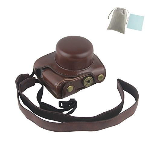 No.2 Warehouse Protective Leather Case Bag With Shoulder Strap For Nikon 1 J5 Compact Camera with 10-30mm Lens (Dark Brown)+ a Piece of Clean Cloth