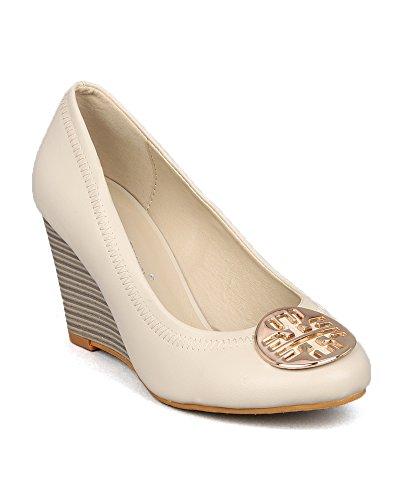 Nature Breeze Realynn-01 Round Toe Ballet Flat Wedge Sandal Metal Embellishment - Bone Leatherette (Size: - And Tony Burch