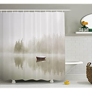 lake house decor shower curtain set by ambesonne boat on the lake with the silhouette of trees on the water morning fog sky nature art photo