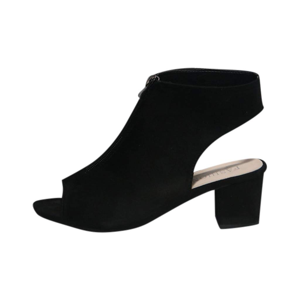 Nevera Womens Cutout Sandals Hollow Out Chunky Heels Open Toe Zip Dress Shoes Black